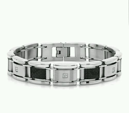 Mens 1/10 Ct 8.5 inch 20 Diamond Stainless Steel and Black Carbon Fiber Bracelet