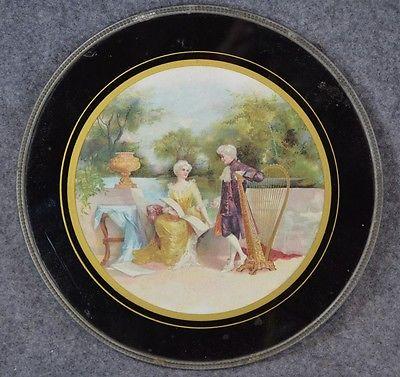 flue chimney cover glass litho renaissance couple garden music antique original