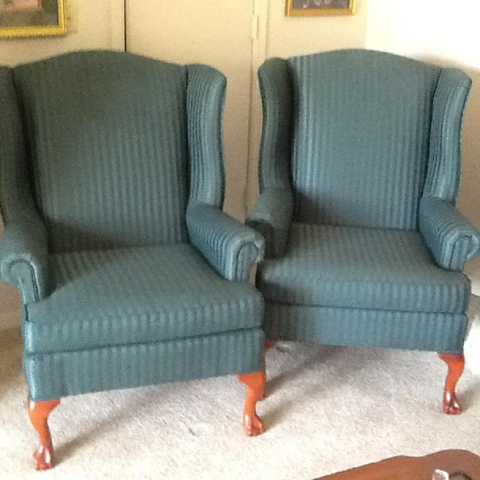 Two wing back chairs. Like new. $150. Each.