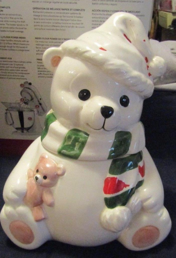 Homeco White Bear Wearing Scarf And Christmas Hat Cookie Jar *Rare* 1991