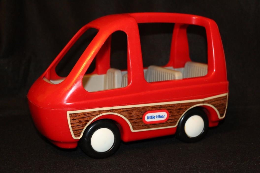 Little Tikes Red Van Family Car Vintage Minivan 4 Dollhouse Woody Wood Panel aba