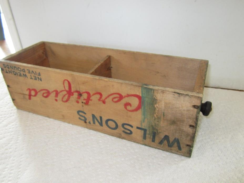 ANTIQUE WILSON'S WOOD WOODEN CHEESE BOX FIVE POUNDS ADVERTISING