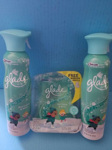 2 air spray and 1 plugin refill Glade HOT COCOA AND MINT limited edition