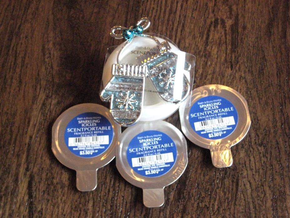 Bath Body Works SPARKLING ICICLE Scentportable Refill Discs and Blue Mitten Clip