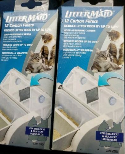 2 Boxes LitterMaid Carbon Filters 12-Count each = 24 Litter Maid Lot NEW LMF200