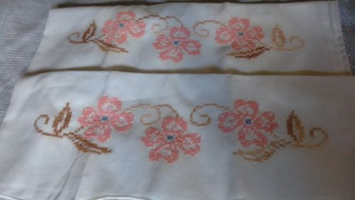 Set of 2 Vintage Hand Cross Stitched Pillowcases Pink Flowers Blue Tan Brown