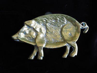 Antique brass pig pipe rest / ashtray, circa 1890-1915...
