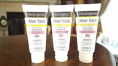 3 Neutrogena Clear Face Break Out Free Sunscreen, SPF 30, 9 fl oz Total EXP07/18