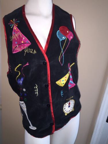 Casey & Max New Years Christmas Holiday Vest Ugly Tacky Size S black 100% cotton