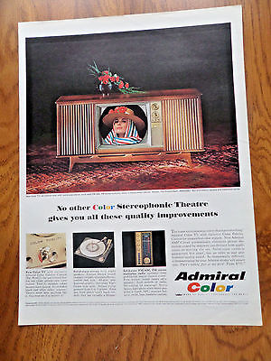 1965 Admiral TV Television Ad Color Stereophonic Theatre