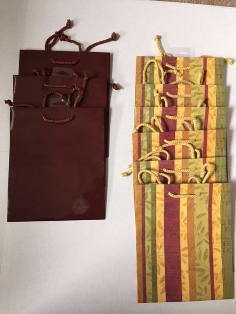 Chocolate Brown and Stripe Floral Paper Bags 9 ct 9
