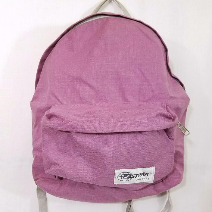 East Pak Backpack Vtg 80s 90s Canvas Pink With Front Pocket Made In USA