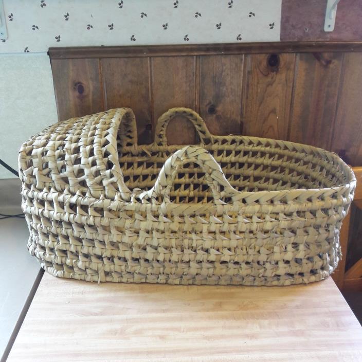Vintage Indian Handmade Large Baby Basket From Estate Sale #2