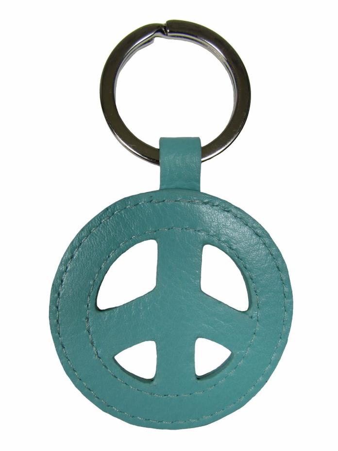 New Leather Peace Sign Key Fob Ring Keychain Fashion Colors