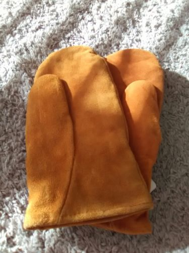 WHITEWATER OUTDOORS RUST COLOR  FLEECE LINED LEATHER MITTENS  LARGE