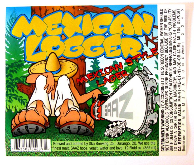 Ska Brewing Co MEXICAN LOGGER beer label CO 12oz
