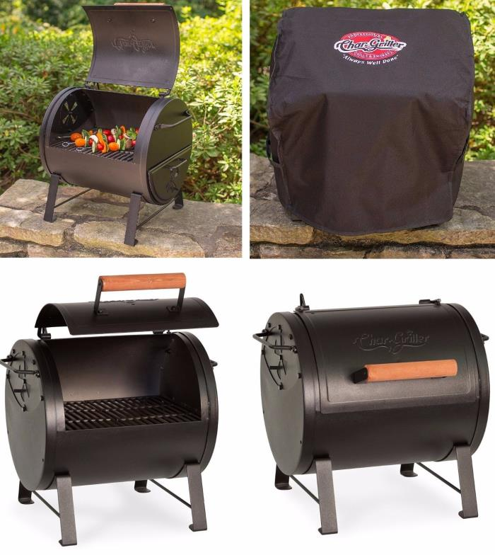 Charcoal Grill Smoker Garden Rotisserie Portable Cast Iron BBQ Side Fire Box