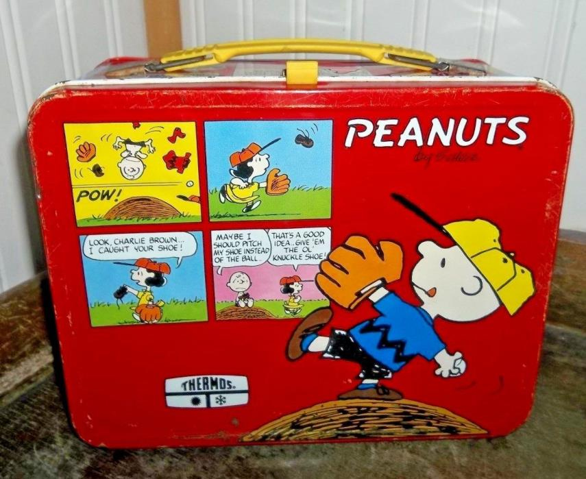 1976 Peanuts Metal Lunch Box By Thermos Vintage Lunchbox Charlie Brown & Snoopy!