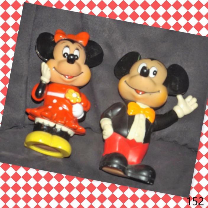 Vintage 1960s Plastic Mickey And Minnie Piggy Bank Walt Disney Productions
