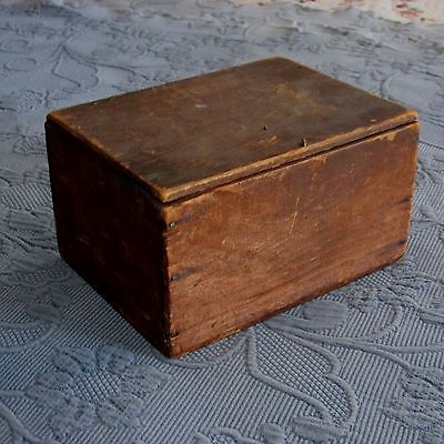 Sweet Little Antique Wooden Box with Wire Hinges & Square Nut Nail Construction