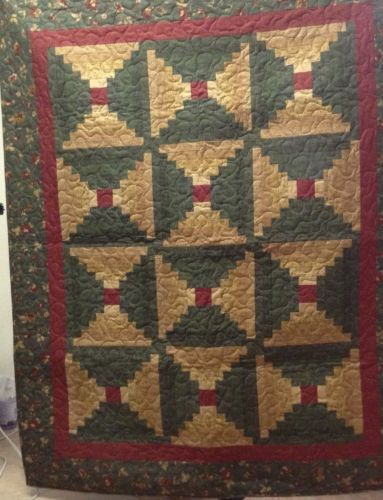 Log Cabin Throw or Lap Quilt, Machine Quilted 50