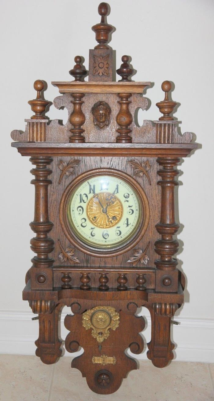VINTAGE GERMAN KIENZLE WALL CLOCK CIRCA 1880'S