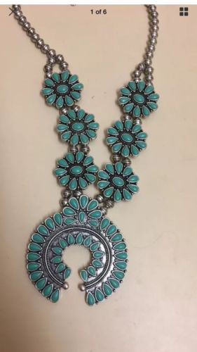 Lucky Brand Vintage Southwest Silver Blue Squash Blossom Necklace - turquoise