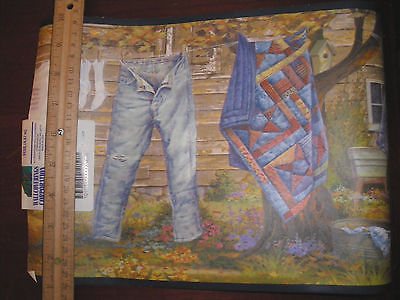 TWO ROLLS Country Clothesline Laundry Chesapeake Wallpaper Border