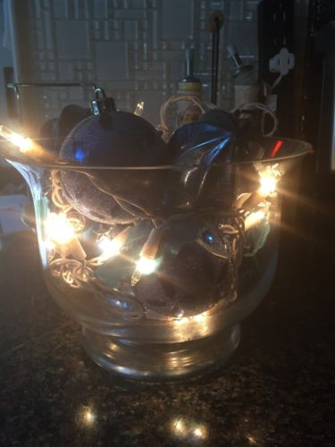 Lighted Decorative Bowl With Blue Decor