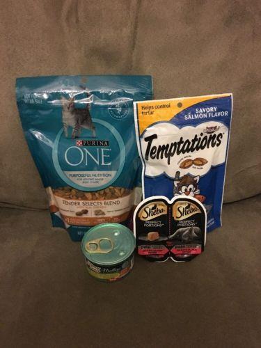 4 Purina One & Fancy Feast Chicken & Temptations & Sheba Salmon Cat Food Treats