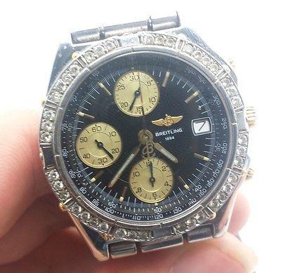 Mens Breitling B13050 Bullet Style Band Diamond Bezel 2 Tone Watch