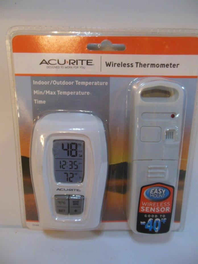 ACURITE Wireless Thermometer With Indoor/Outdoor Temperature Clock  #00415 New