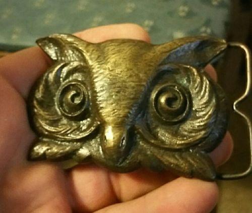 Bergamont Signed Brass works 1976 Wise Owl Hallmarked men  swirl Rare 3×2 Gents