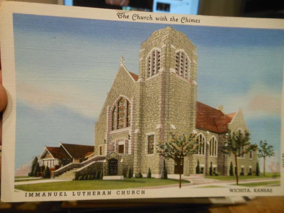 Vintage Old KANSAS Postcard Wichita Immanuel Lutheran Church Chimes Bell Tower