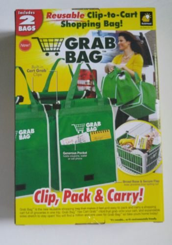 GRAB BAG with CART CLIPS 2 BAGS ECO FRIENDLY GROCERY TOTE REUSABLE NEW