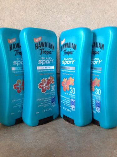 4 NEW HAWAIIAN TROPIC ISLAND SPORT TANNING LOTION SPF 30