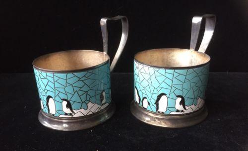 Pair VTG Soviet Russian Podstakannik Tea Glass Holders Enamel Penguins On Ice