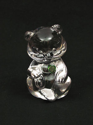 Fenton Crystal Glass Bear Green Heart 3 1/2
