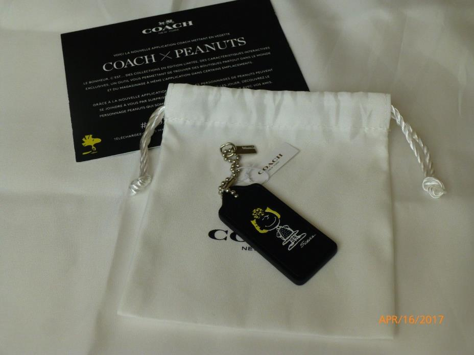 NWT Coach X Peanuts Snoopy Sally Leather Hangtag Fob Keychain #63187 1st Releas