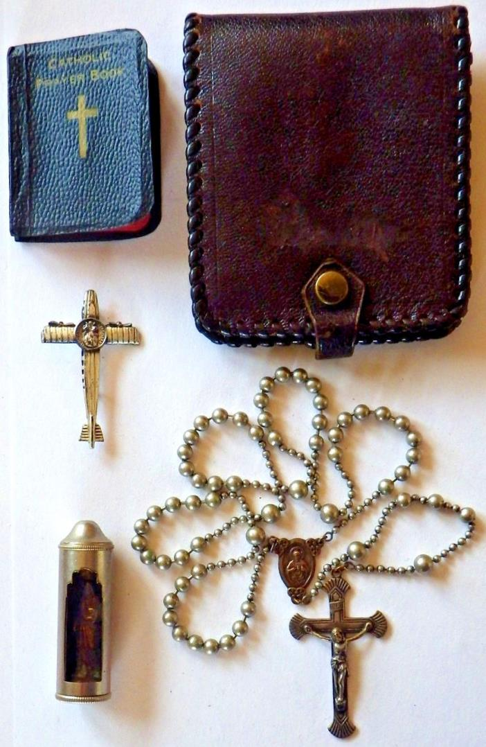 WWII MILITARY CHAPLINS ROSARY LOT ? TRENCH PULL CHAIN ROSARIES ? SHRINE CRUCIFIX