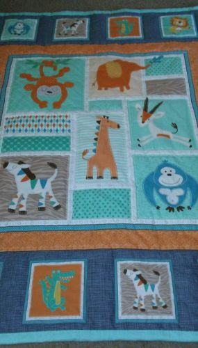 Handmade baby quilt gray and aqua with jungle animals