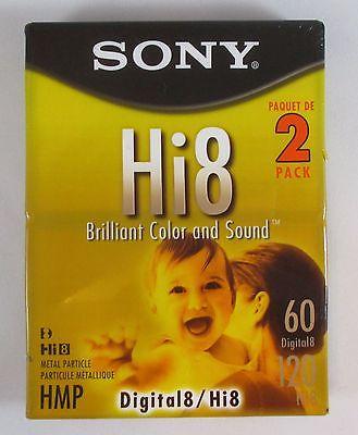 Sony Hi8 Blank Sealed 2 Pack Camcorder Video Cassette Tape Digital 8 HMP 60/120