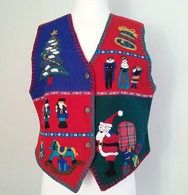 NEW Colorful Embroidered Christmas Vest Sz L Wool Blend Nutcracker Santa Tree