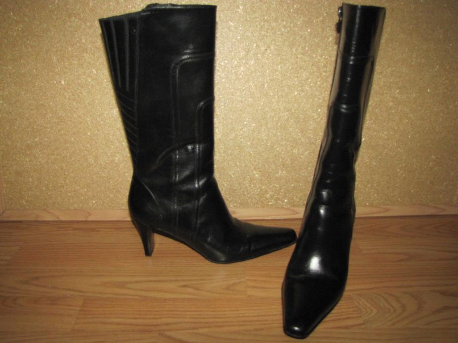 Via Spiga Black Mid Calf Leather Boots - 7M European 42 EUC
