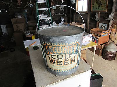 Vintage Security Foods Calf Ween 25 lb Size Metal Bucket Minnesota Lot 17-3-20