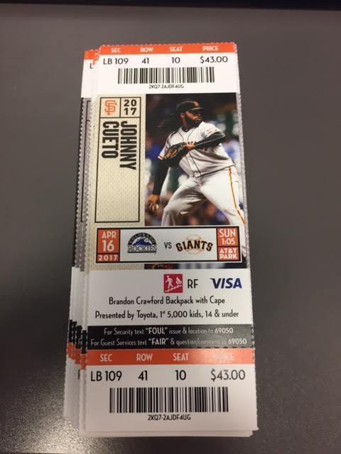 San Francisco Giants Colorado Rockies MINT Season Ticket 4/16/17 2017 MLB Stub
