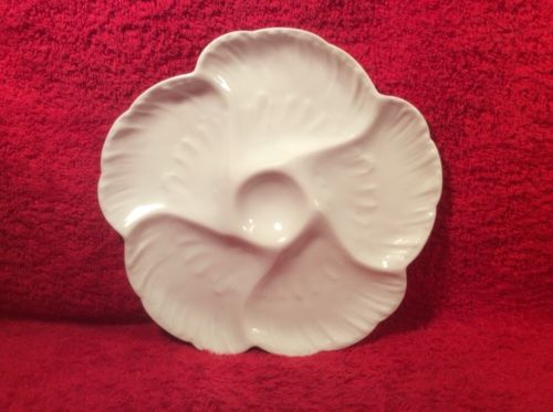 Antique All White French Limoges Oyster Plate c.1882-1890, op316