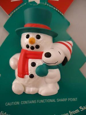 Vtg Hallmark Snoopy Woodstock Pops Up Snowman Chrismtas Pin Peanuts NEW