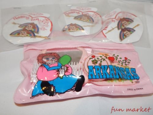 Raggedy Ann 3 Sets Hair Pins and Childs Cosmetic Bag with Fun Items