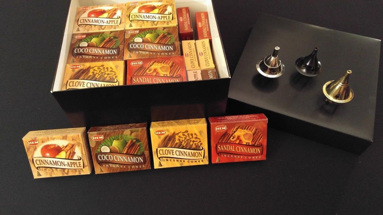 CINNAMON Incense Cones Set: 4 Scents x 10 Boxes Of 10 = 400 Cones + 3 Burners